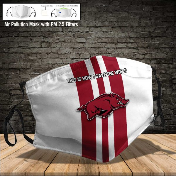 NCAA - Arkansas Razorbacks #8 Save The World Print Fabric, Reusable Dust Mask, Face Cover with Filter Activated Carbon PM 2.5