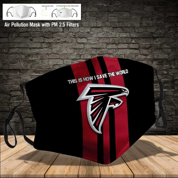 NFL - Atlanta Falcons #8 Save The World (Print Fabric, Reusable Dust Mask, Face Cover with Filter Activated Carbon PM 2.5)