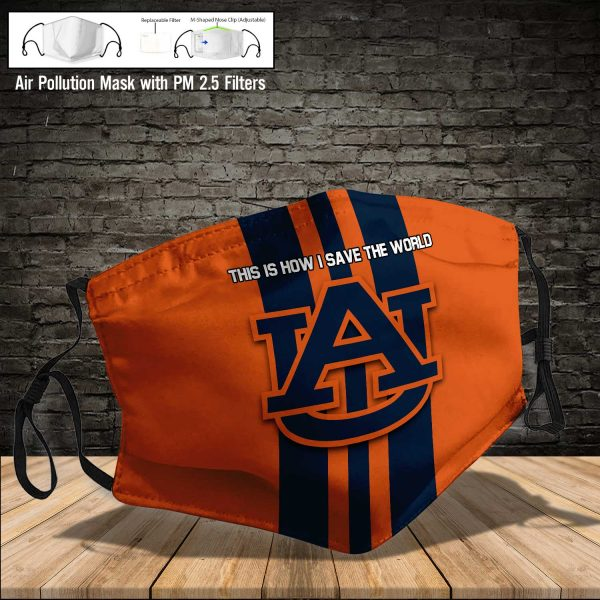 NCAA - Auburn Tigers #8 Save The World Print Fabric, Reusable Dust Mask, Face Cover with Filter Activated Carbon PM 2.5