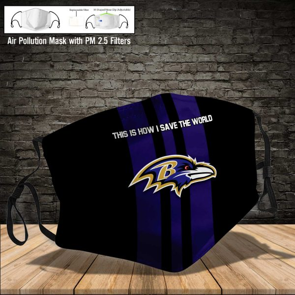 NFL - Baltimore Ravens #8 Save The World (Print Fabric, Reusable Dust Mask, Face Cover with Filter Activated Carbon PM 2.5)