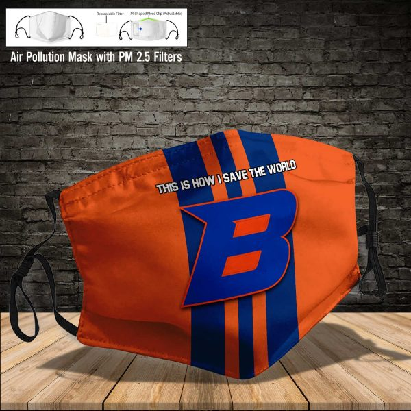 NCAA - Boise State Broncos #8 Save The World Print Fabric, Reusable Dust Mask, Face Cover with Filter Activated Carbon PM 2.5