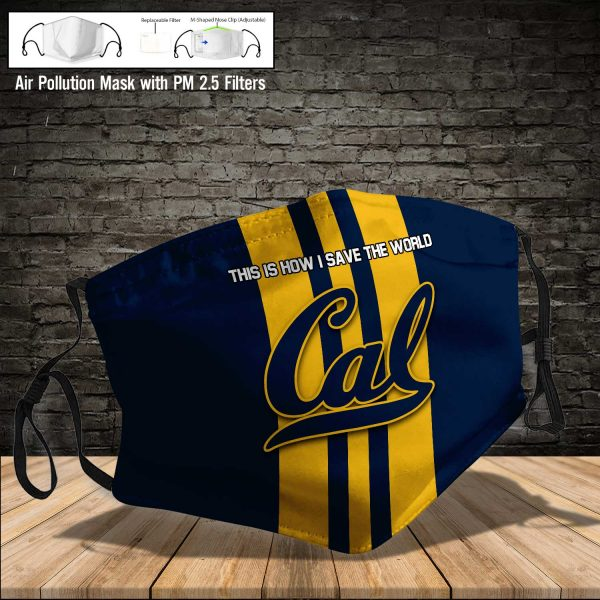 NCAA - Cal Bears #8 Save The World Print Fabric, Reusable Dust Mask, Face Cover with Filter Activated Carbon PM 2.5
