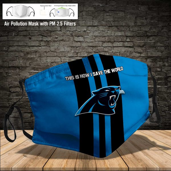 NFL - Carolina Panthers #8 Save The World (Print Fabric, Reusable Dust Mask, Face Cover with Filter Activated Carbon PM 2.5)