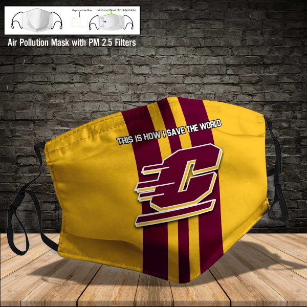 NCAA - Central Michigan Chippewas #8 Save The World Print Fabric, Reusable Dust Mask, Face Cover with Filter Activated Carbon PM 2.5