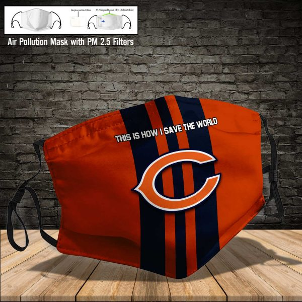 NFL - Chicago Bears #8 Save The World (Print Fabric, Reusable Dust Mask, Face Cover with Filter Activated Carbon PM 2.5)