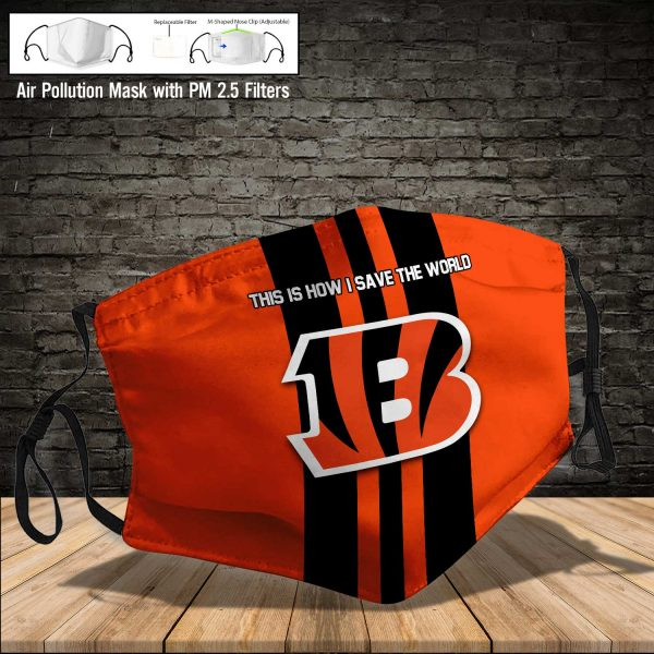 NFL - Cincinnati Bengals #8 Save The World (Print Fabric, Reusable Dust Mask, Face Cover with Filter Activated Carbon PM 2.5)