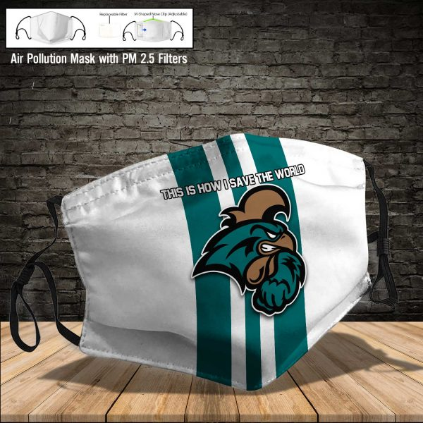 NCAA - Coastal Carolina Chanticleers #8 Save The World Print Fabric, Reusable Dust Mask, Face Cover with Filter Activated Carbon PM 2.5