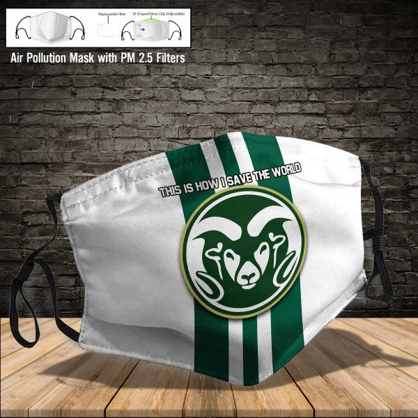 NCAA - Colorado State Rams #8 Save The World Print Fabric, Reusable Dust Mask, Face Cover with Filter Activated Carbon PM 2.5