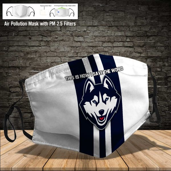 NCAA - Connecticut Huskies #8 Save The World Print Fabric, Reusable Dust Mask, Face Cover with Filter Activated Carbon PM 2.5