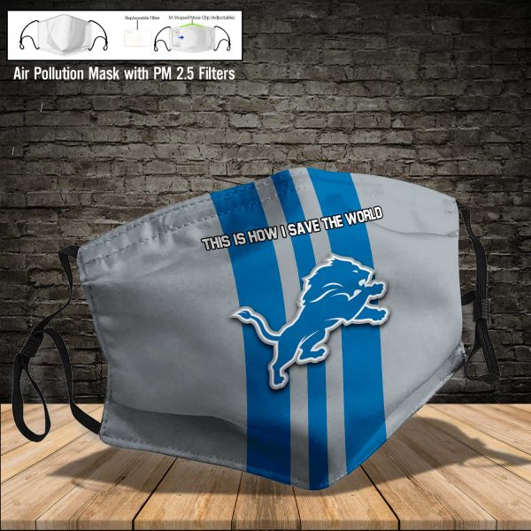 NFL - Detroit Lions #8 Save The World (Print Fabric, Reusable Dust Mask, Face Cover with Filter Activated Carbon PM 2.5)