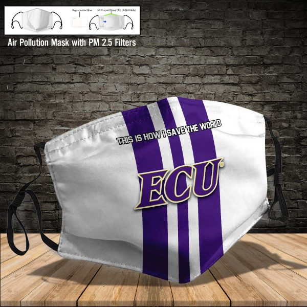 NCAA - East Carolina Pirates #8 Save The World Print Fabric, Reusable Dust Mask, Face Cover with Filter Activated Carbon PM 2.5