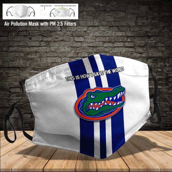 NCAA - Florida Gators #8 Save The World Print Fabric, Reusable Dust Mask, Face Cover with Filter Activated Carbon PM 2.5