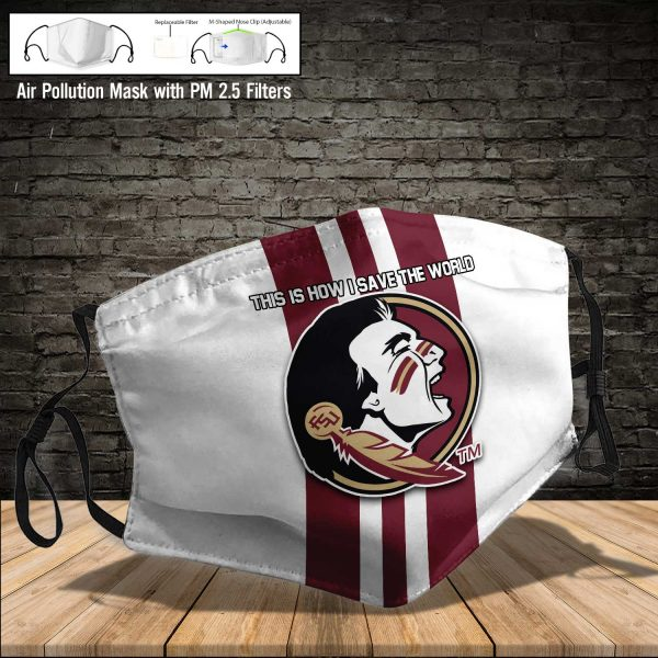 NCAA - Florida State Seminoles #8 Save The World Print Fabric, Reusable Dust Mask, Face Cover with Filter Activated Carbon PM 2.5