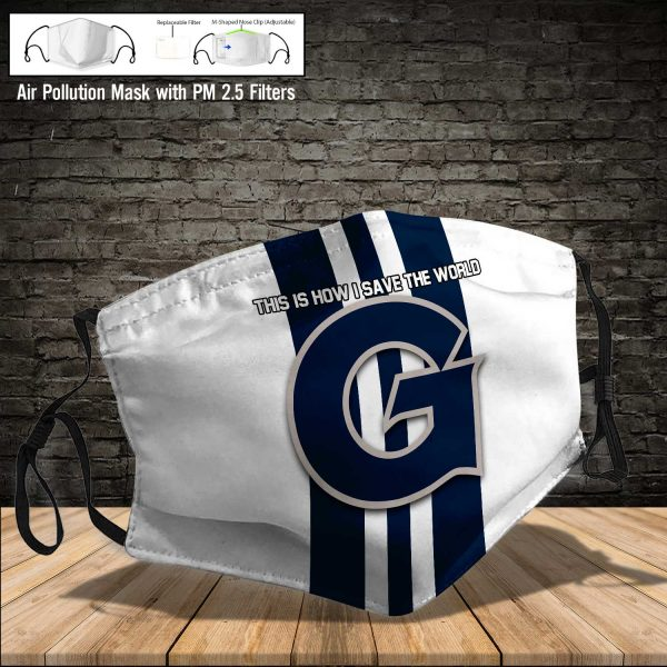 NCAA - Georgetown Hoyas #8 Save The World Print Fabric, Reusable Dust Mask, Face Cover with Filter Activated Carbon PM 2.5