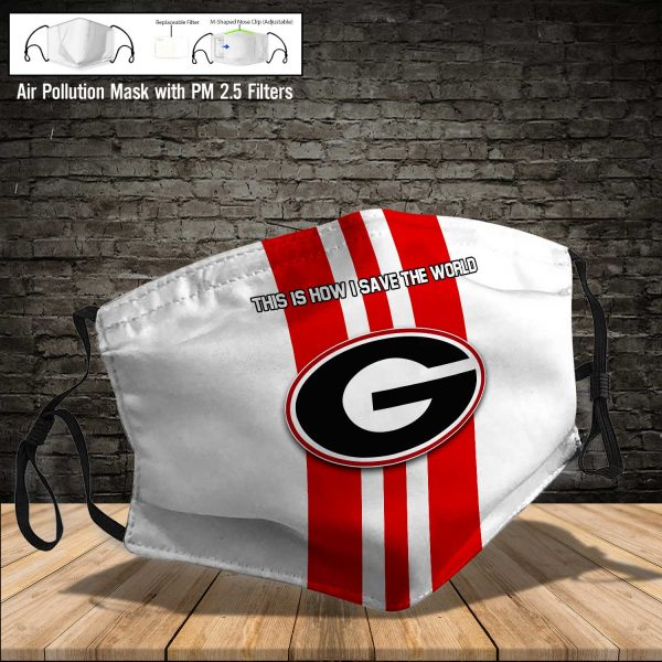 NCAA - Georgia Bulldogs #8 Save The World Print Fabric, Reusable Dust Mask, Face Cover with Filter Activated Carbon PM 2.5