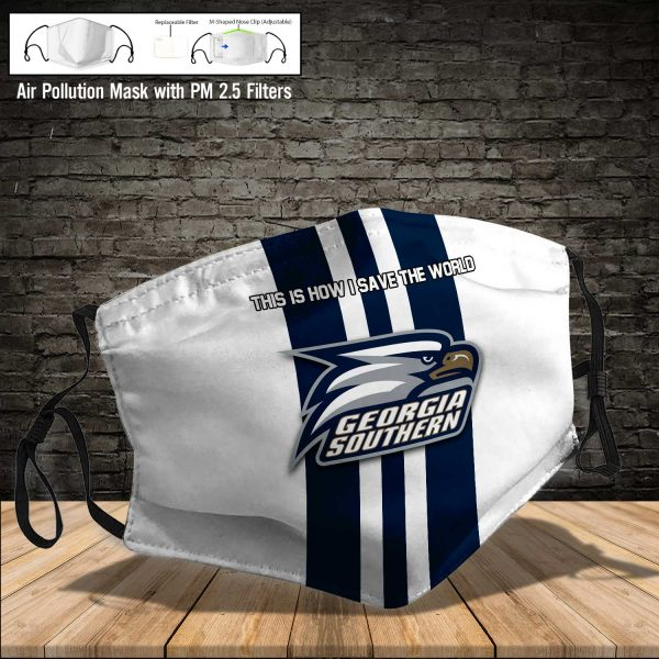 NCAA - Georgia Southern Eagles #8 Save The World Print Fabric, Reusable Dust Mask, Face Cover with Filter Activated Carbon PM 2.5