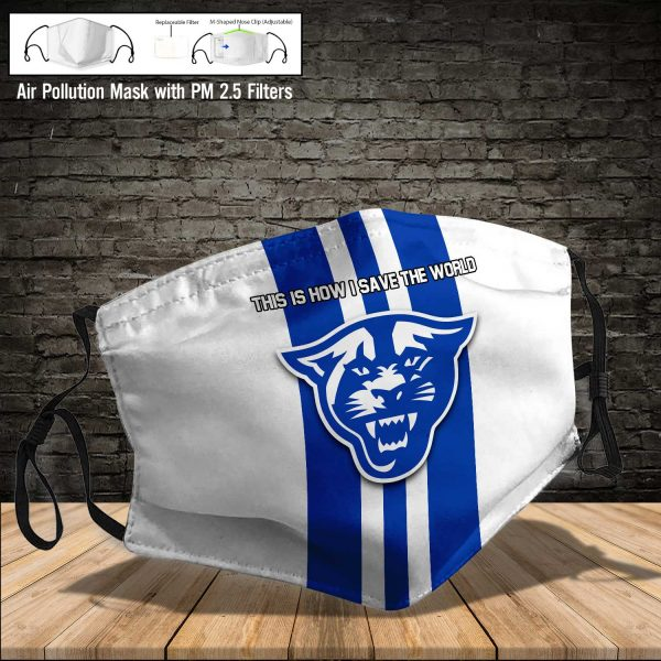 NCAA - Georgia State Panthers #8 Save The World Print Fabric, Reusable Dust Mask, Face Cover with Filter Activated Carbon PM 2.5