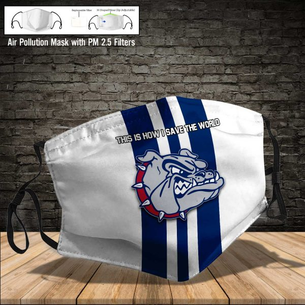 NCAA - Gonzaga Bulldogs #8 Save The World Print Fabric, Reusable Dust Mask, Face Cover with Filter Activated Carbon PM 2.5