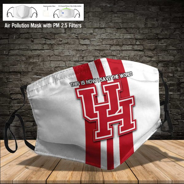 NCAA - Houston Cougars #8 Save The World Print Fabric, Reusable Dust Mask, Face Cover with Filter Activated Carbon PM 2.5