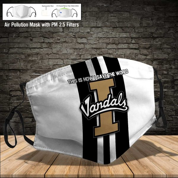 NCAA - Idaho Vandals #8 Save The World Print Fabric, Reusable Dust Mask, Face Cover with Filter Activated Carbon PM 2.5