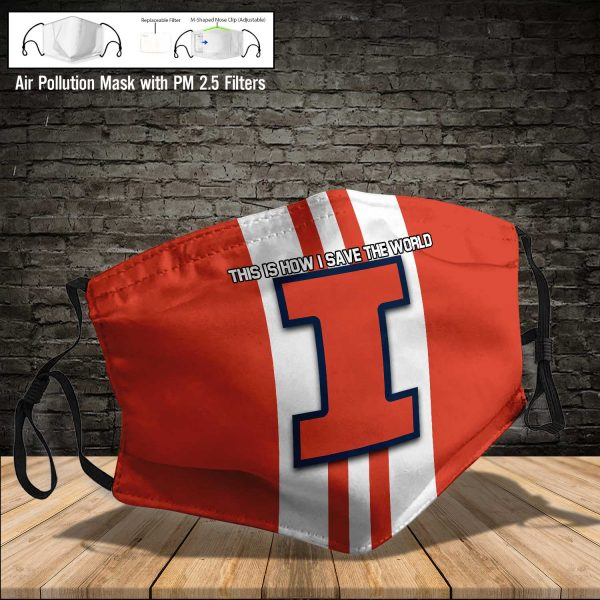 NCAA - Illinois Fighting Illini #8 Save The World Print Fabric, Reusable Dust Mask, Face Cover with Filter Activated Carbon PM 2.5