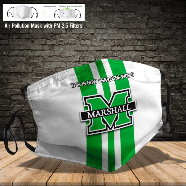 NCAA - Marshall Thundering Herd #8 Save The World Print Fabric, Reusable Dust Mask, Face Cover with Filter Activated Carbon PM 2.5
