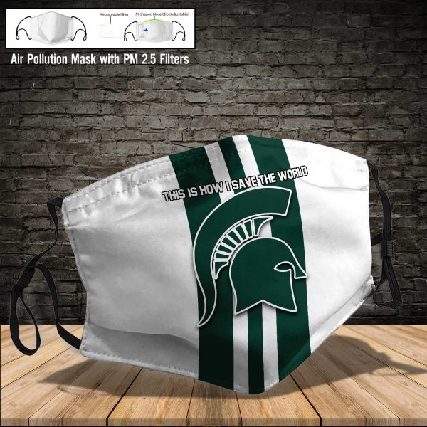 NCAA - Michigan State Spartans #8 Save The World Print Fabric, Reusable Dust Mask, Face Cover with Filter Activated Carbon PM 2.5