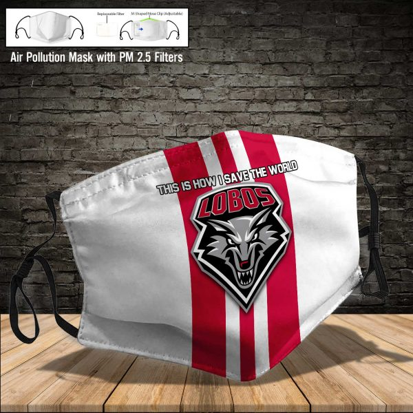 NCAA - New Mexico Lobos #8 Save The World Print Fabric, Reusable Dust Mask, Face Cover with Filter Activated Carbon PM 2.5