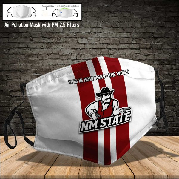 NCAA - New Mexico State Aggies #8 Save The World Print Fabric, Reusable Dust Mask, Face Cover with Filter Activated Carbon PM 2.5