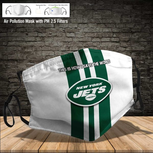 NFL - New York Jets #8 Save The World (Print Fabric, Reusable Dust Mask, Face Cover with Filter Activated Carbon PM 2.5)