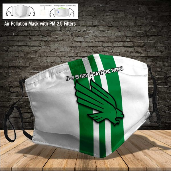 NCAA - North Texas Mean Green #8 Save The World Print Fabric, Reusable Dust Mask, Face Cover with Filter Activated Carbon PM 2.5