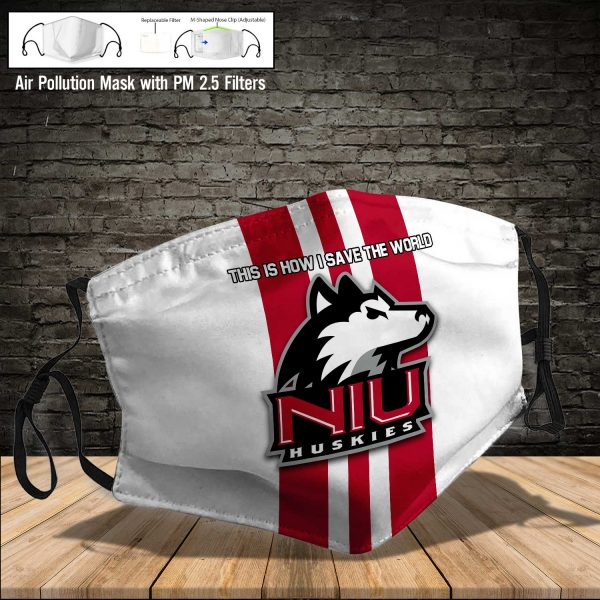 NCAA - Northern Illinois Huskies #8 Save The World Print Fabric, Reusable Dust Mask, Face Cover with Filter Activated Carbon PM 2.5
