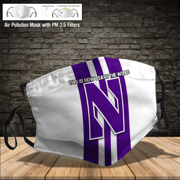 NCAA - Northwestern Wildcats #8 Save The World Print Fabric, Reusable Dust Mask, Face Cover with Filter Activated Carbon PM 2.5