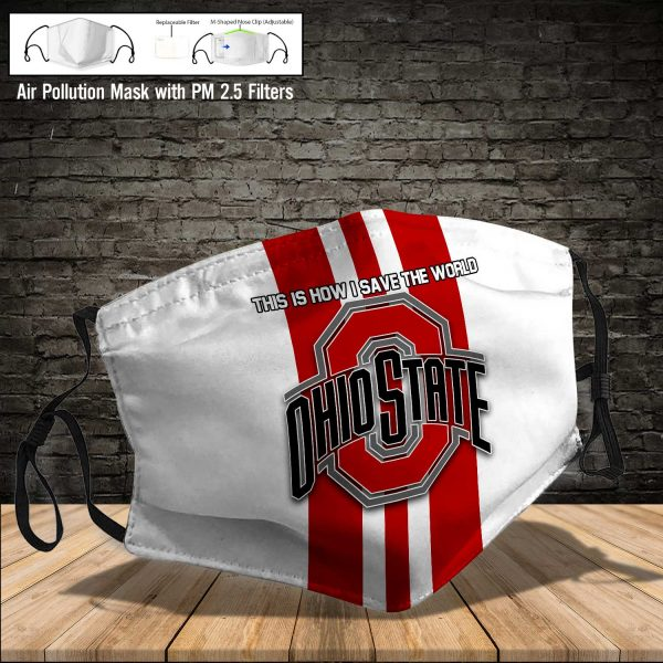 NCAA - Ohio State Buckeyes #8 Save The World Print Fabric, Reusable Dust Mask, Face Cover with Filter Activated Carbon PM 2.5