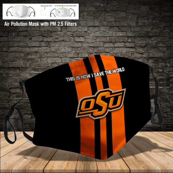 NCAA - Oklahoma State Cowboys #8 Save The World Print Fabric, Reusable Dust Mask, Face Cover with Filter Activated Carbon PM 2.5
