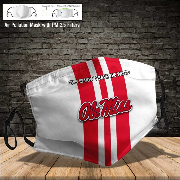 NCAA - Ole Miss Rebels #8 Save The World Print Fabric, Reusable Dust Mask, Face Cover with Filter Activated Carbon PM 2.5