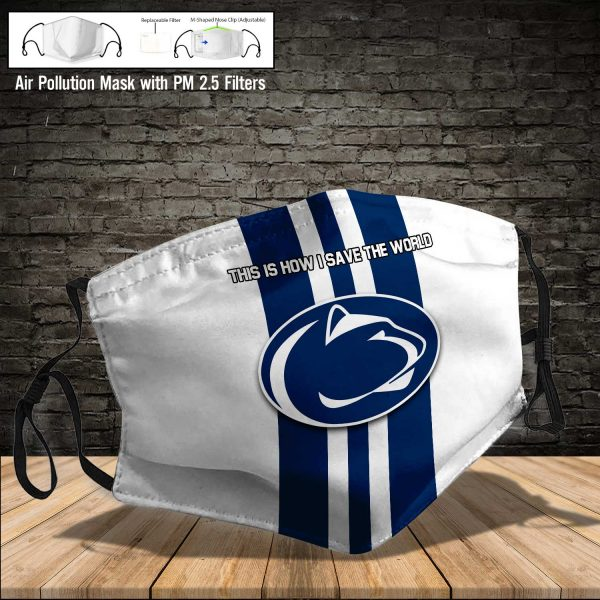 NCAA - Penn State Nittany Lions #8 Save The World Print Fabric, Reusable Dust Mask, Face Cover with Filter Activated Carbon PM 2.5