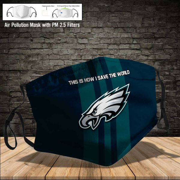 NFL - Philadelphia Eagles #8 Save The World (Print Fabric, Reusable Dust Mask, Face Cover with Filter Activated Carbon PM 2.5)