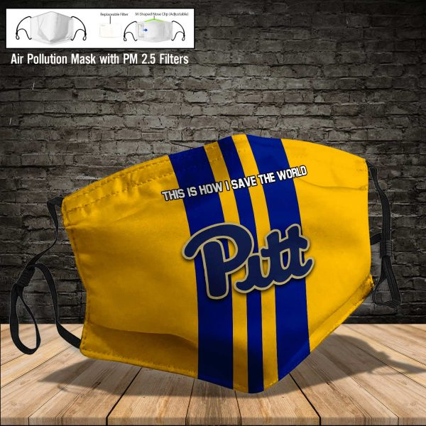 NCAA - Pitt Panthers #8 Save The World Print Fabric, Reusable Dust Mask, Face Cover with Filter Activated Carbon PM 2.5