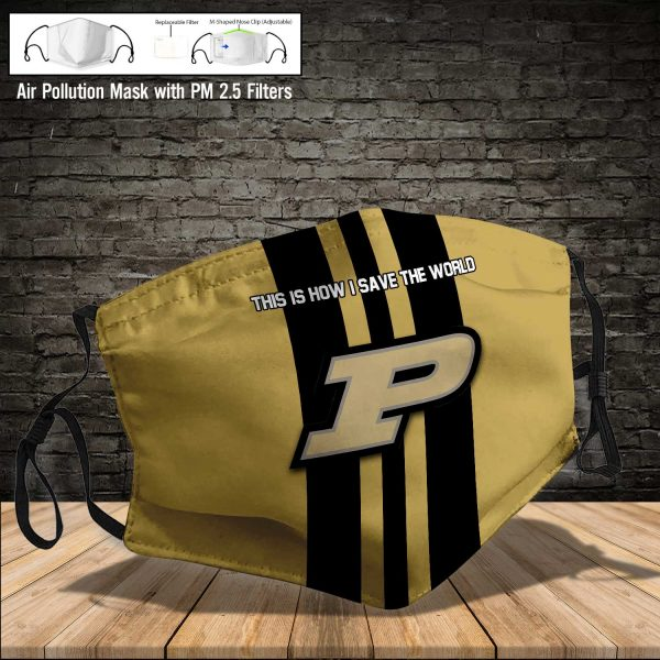 NCAA - Purdue Boilermakers #8 Save The World Print Fabric, Reusable Dust Mask, Face Cover with Filter Activated Carbon PM 2.5