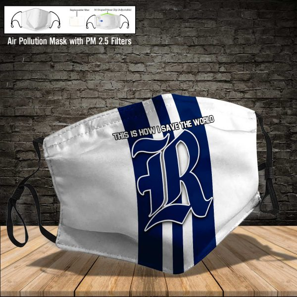 NCAA - Rice Owls #8 Save The World Print Fabric, Reusable Dust Mask, Face Cover with Filter Activated Carbon PM 2.5