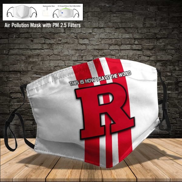 NCAA - Rutgers Scarlet Knights #8 Save The World Print Fabric, Reusable Dust Mask, Face Cover with Filter Activated Carbon PM 2.5