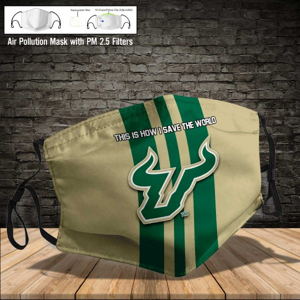 NCAA - South Florida Bulls #8 Save The World Print Fabric, Reusable Dust Mask, Face Cover with Filter Activated Carbon PM 2.5