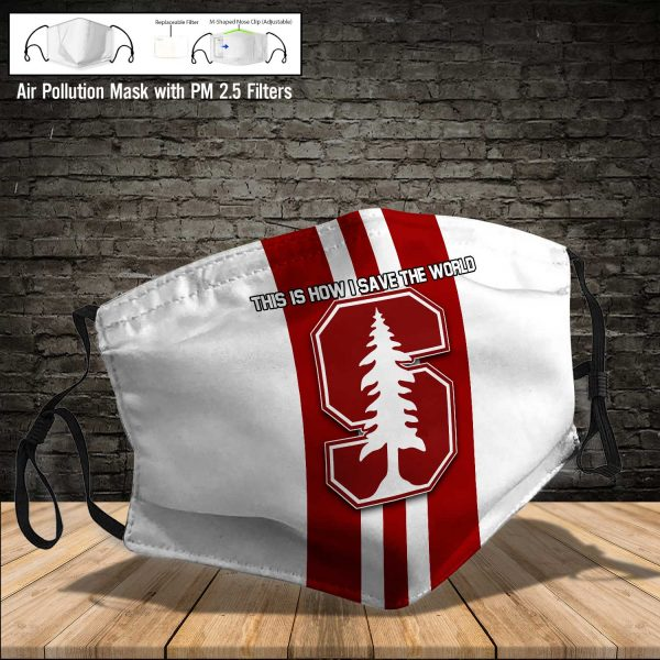 NCAA - Stanford Cardinal #8 Save The World Print Fabric, Reusable Dust Mask, Face Cover with Filter Activated Carbon PM 2.5