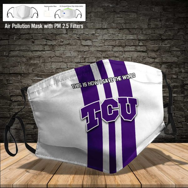 NCAA - TCU Horned Frogs #8 Save The World Print Fabric, Reusable Dust Mask, Face Cover with Filter Activated Carbon PM 2.5