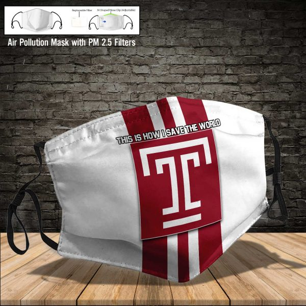 NCAA - Temple Owls #8 Save The World Print Fabric, Reusable Dust Mask, Face Cover with Filter Activated Carbon PM 2.5