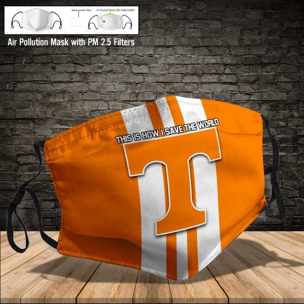 NCAA - Tennessee Volunteers #8 Save The World Print Fabric, Reusable Dust Mask, Face Cover with Filter Activated Carbon PM 2.5