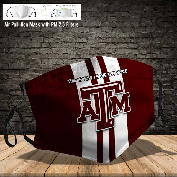NCAA - Texas A_M Aggies #8 Save The World Print Fabric, Reusable Dust Mask, Face Cover with Filter Activated Carbon PM 2.5