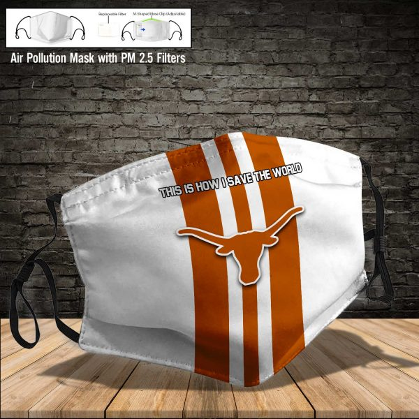 NCAA - Texas Longhorns #8 Save The World Print Fabric, Reusable Dust Mask, Face Cover with Filter Activated Carbon PM 2.5