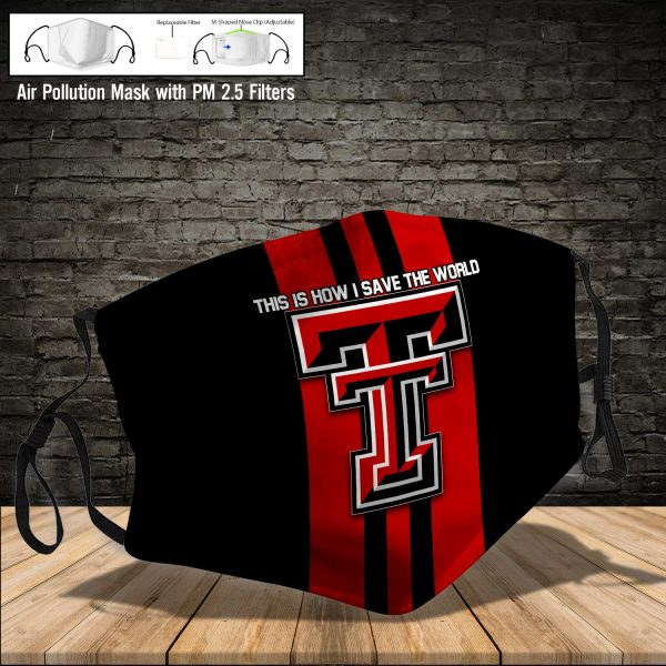NCAA - Texas Tech Red Raiders #8 Save The World Print Fabric, Reusable Dust Mask, Face Cover with Filter Activated Carbon PM 2.5